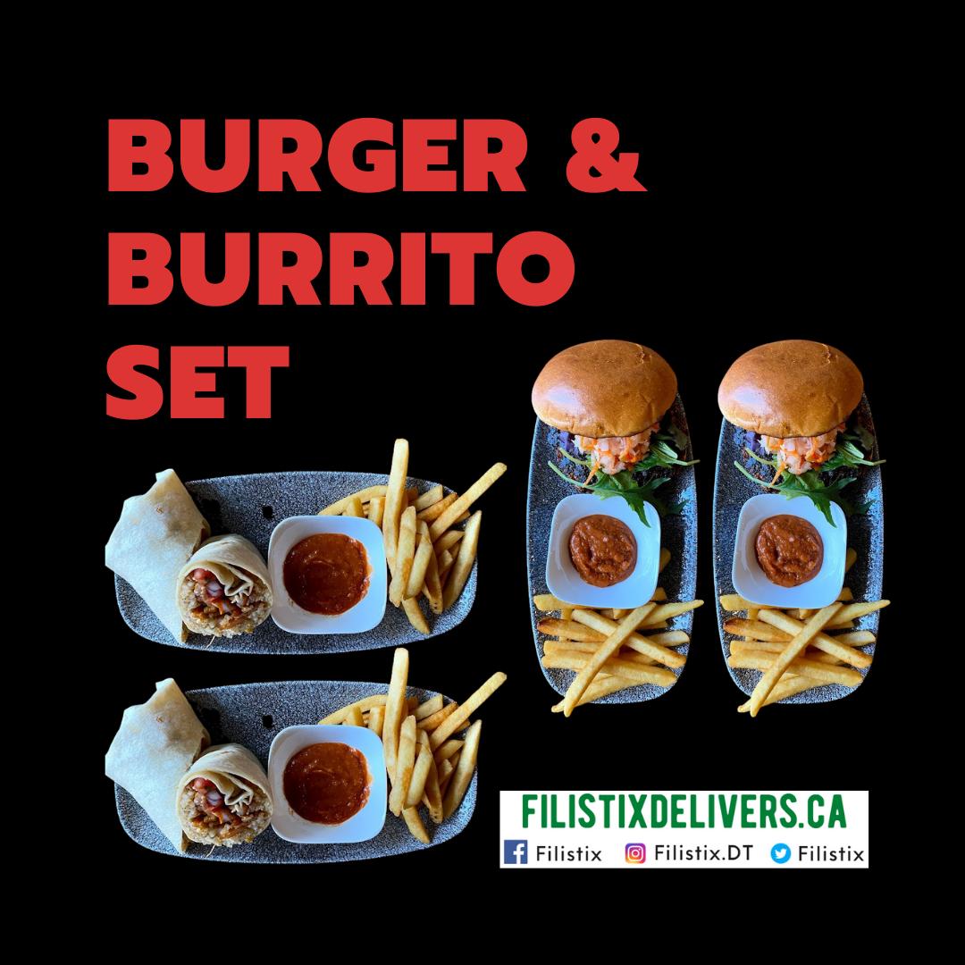 Burger & Burrito Set: 2 Burgers and 2 Burritos