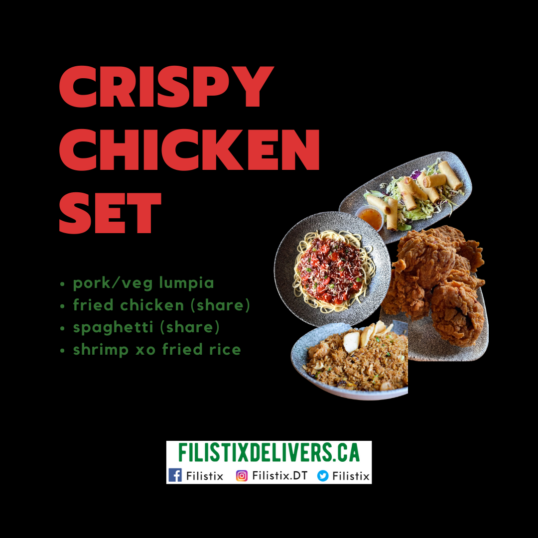Crispy Chicken Set: Lumpia, Chicken (Share), Spaghetti (Share), Shrimp XO Fried Rice
