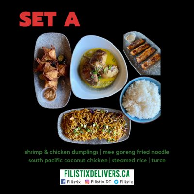SET A: Dumplings, Mee Goreng, South Pacific (Share), Steamed Rice, Turon