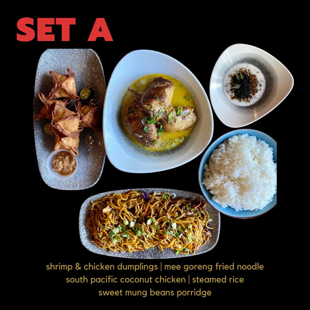 SET A: Dumplings, Mee Goreng, South Pacific (Share), Steamed Rice, Sweet Mung Bean Porridge