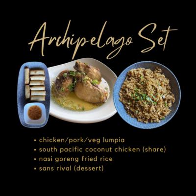 Archipelago Set: Lumpia, Nasi Goreng Fried Rice, South Pacific (Share), Sans Rival