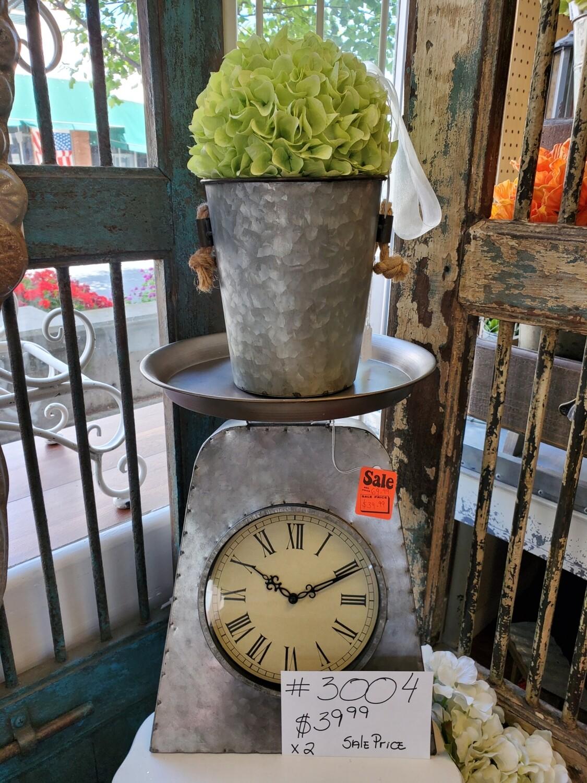 Galvanized Scale Clock Decor