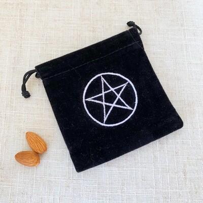 Black Velvet Drawstring Bag Pentagram