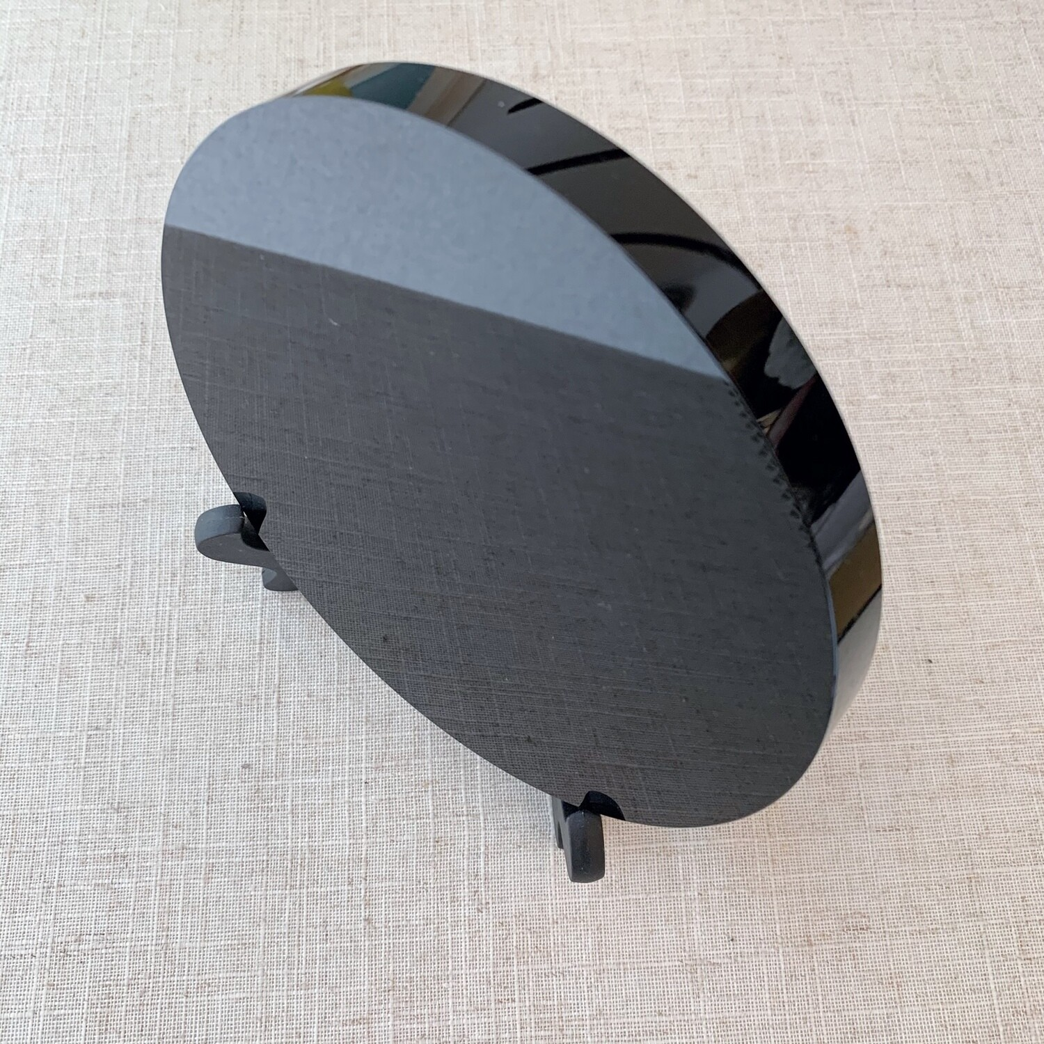 Black Obsidian Scrying Mirror with Stand
