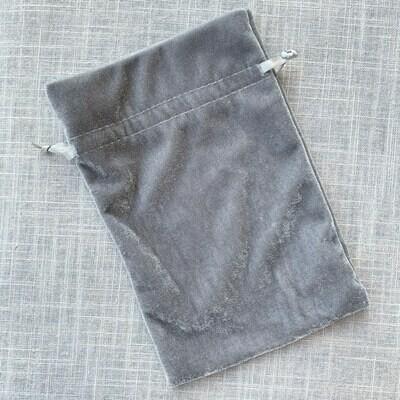 Velvet Drawstring Bag Silver Gray