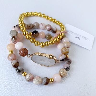 Agate Slice Connector, Pink Opal, Gold Hematite Bracelet Stacker Set