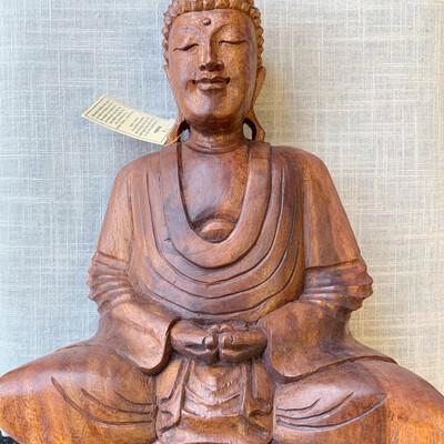 Meditating Buddha Wood Hand Carved Statue