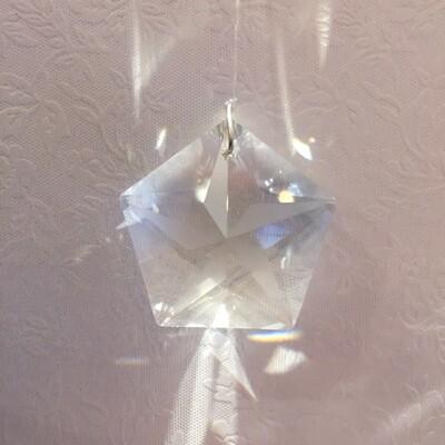 Suncatcher Clear Crystal Star Pentagon 30mm