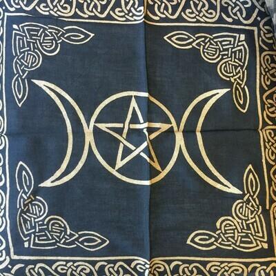 Altar Cloth Gold Triple Moon 18X18