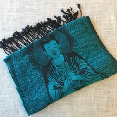 Buddha Teal Shawl