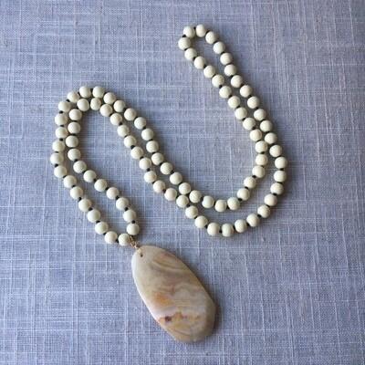 """Boho Style Agate Pendant Synthetic beads Mala 34"""""""