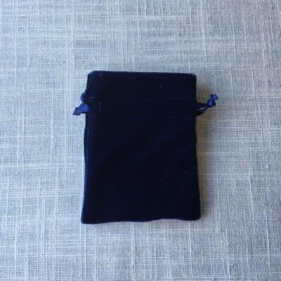 """Velvet Drawstring Bag Navy 3""""x4"""""""