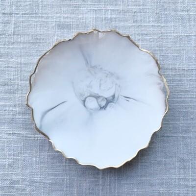 Jewelry Dish White Marble Resin