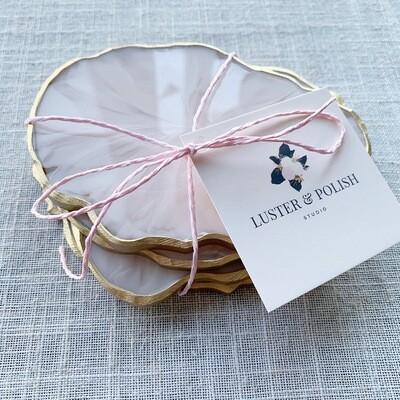 Coasters Blush Marble Resin Set of 4