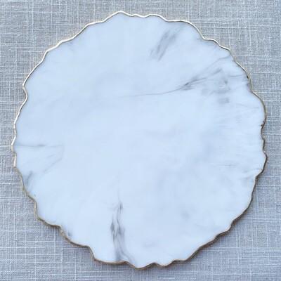 Tray White Marble Resin