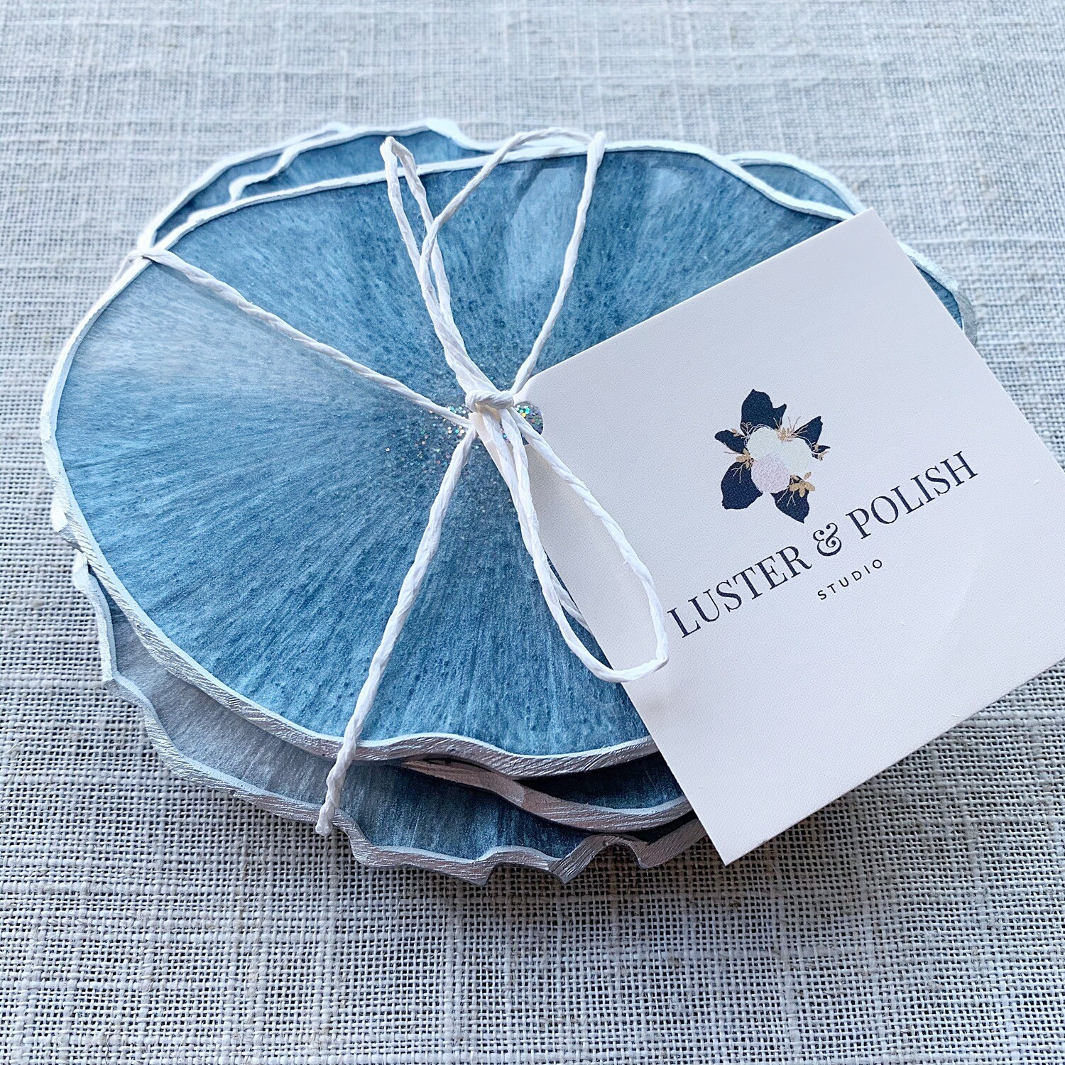 Coasters Blue Luster Resin Set of 4