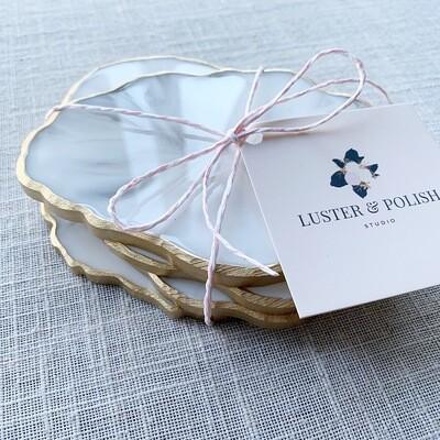 Coasters White Marble Resin Set of 4