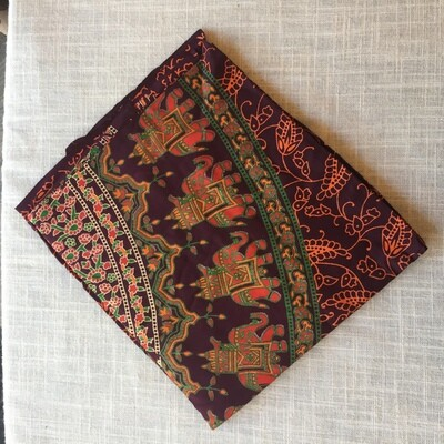 Cotton Tapestry Burgundy Elephant