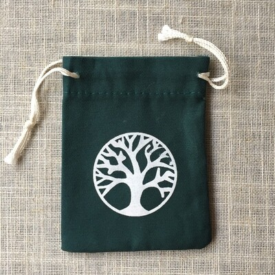 Drawstring Bag Cotton Green Tree Of Life