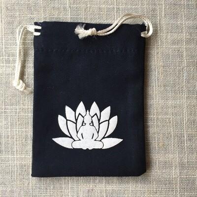 Drawstring Bag Cotton Black Lotus Meditation