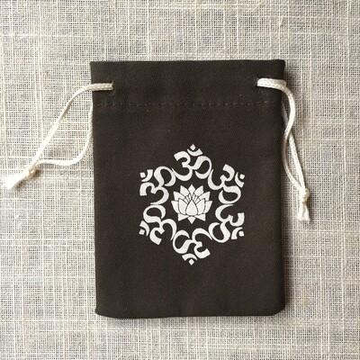 Drawstring Bag Cotton Brown Lotus Om