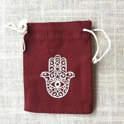 Drawstring Bag Cotton Burgundy Hamsa Hand