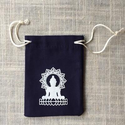 Drawstring Bag Cotton Navy Meditation