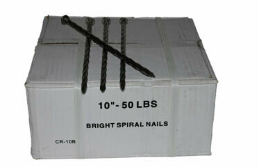"10"" BRIGHT SPIRAL NAILS 50LB BOX"