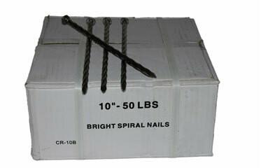 """10"""" BRIGHT SPIRAL NAILS 50LB BOX"""