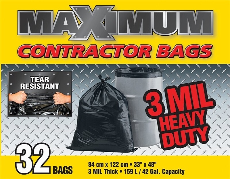 MAXIMUM CONTRACTOR GARBAGE BAGS - 3 MIL