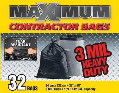MAXIMUM CONTRACTOR GARBAGE BAGS - 3 MIL