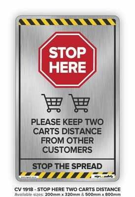 Stop Here -Keep Two Carts Distance