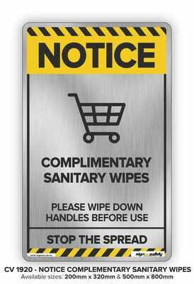 Notice - Complimentary Sanitary Wipes
