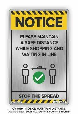 Notice - Maintain A Safe Distance