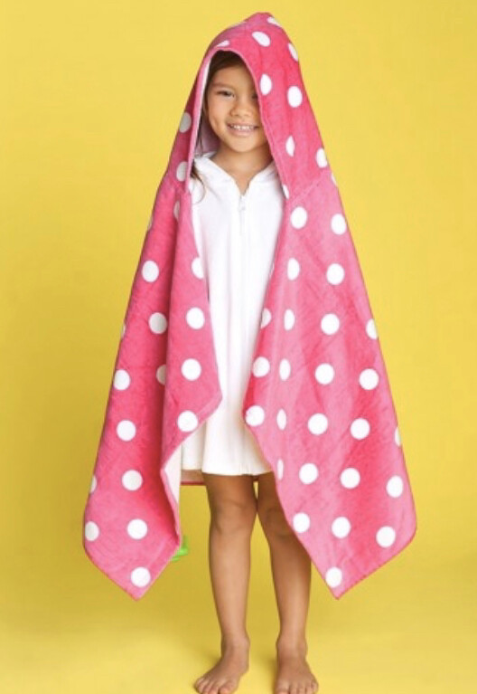 Hooded Beach Towel Pink Dot