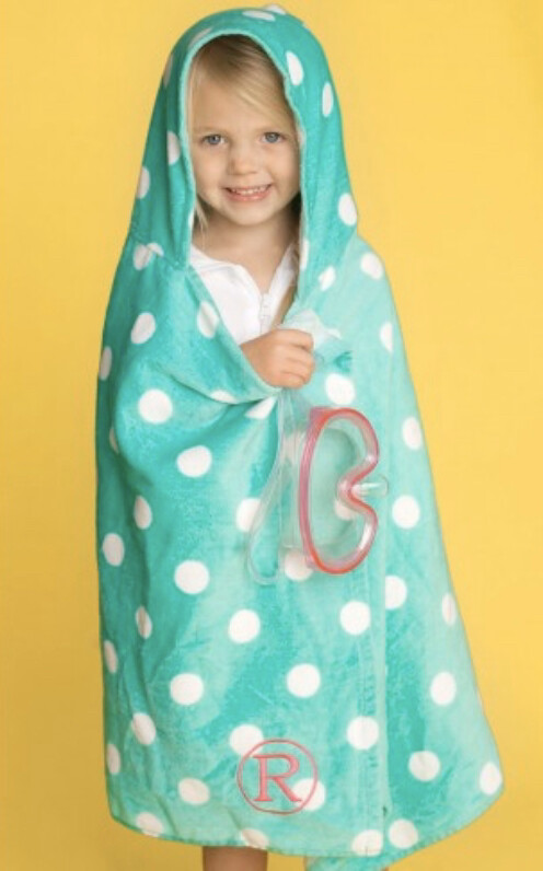Hooded Beach Towel Green Dot