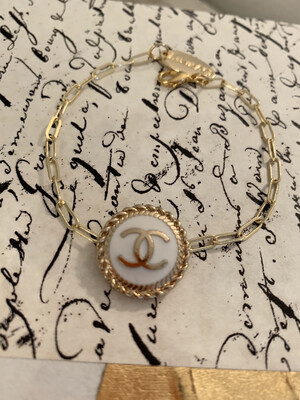 Chanel White Solid Rope Thin Bracelet