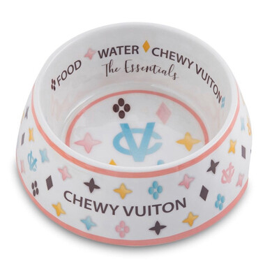 HDD Chewy Vuiton Dog Bowl White