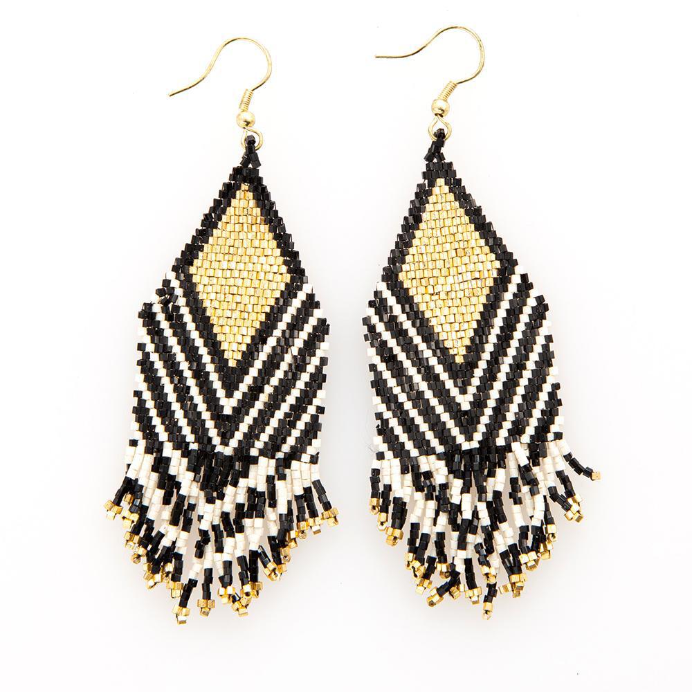 Ink & Alloy Earrings Black/Gold 401