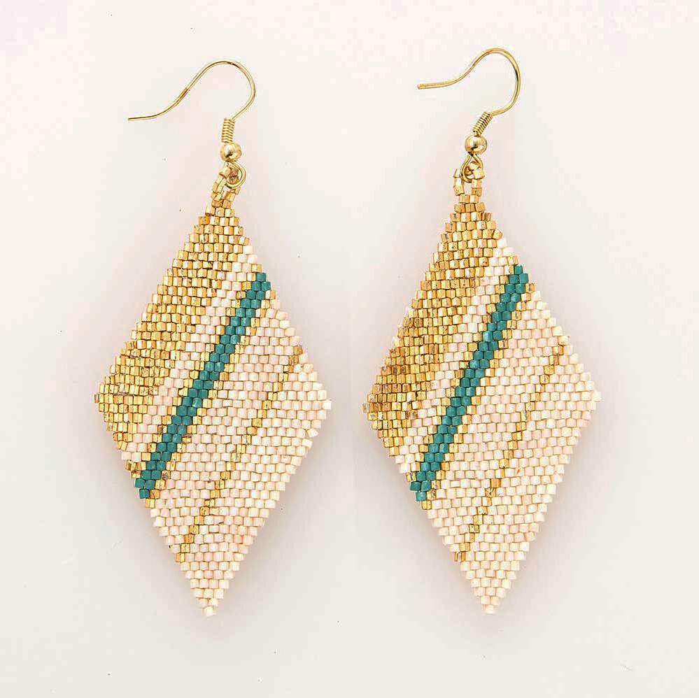 Ink & Alloy Earring Teal/Gold 305