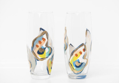 Oyster Stemless Champ Glass Jazzy