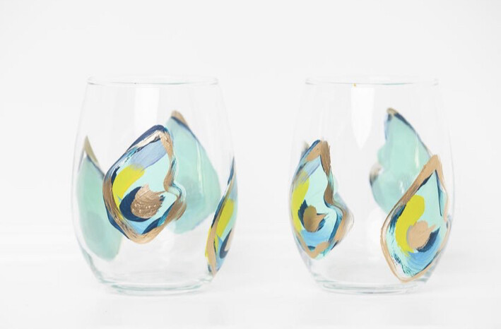 Oyster Stemless Wine Glasses Blue