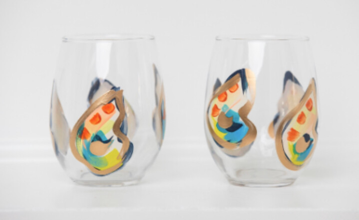 Oyster Stemless Wine Glasses Jazzy