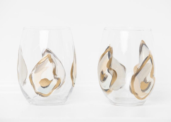 Oyster Stemless Wine Glasses Gold Multi