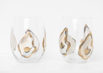 Oyster Stemless Wine Glass Gold Multi