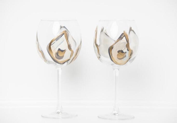 Oyster Stemmed Wine Glass Gold