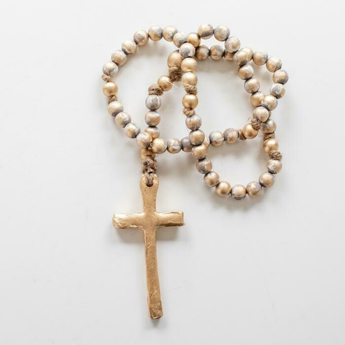 """SS Blessing Bead Rosary 23"""" Grey"""