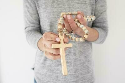 """SS Blessing Bead Rosary 23"""" Turquoise"""