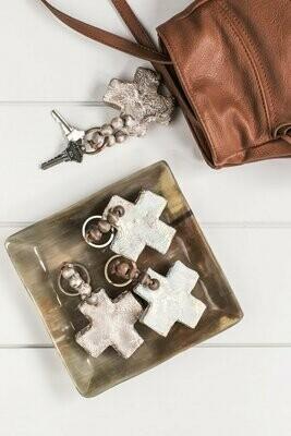 SS Keychain Cross Brown/Turq