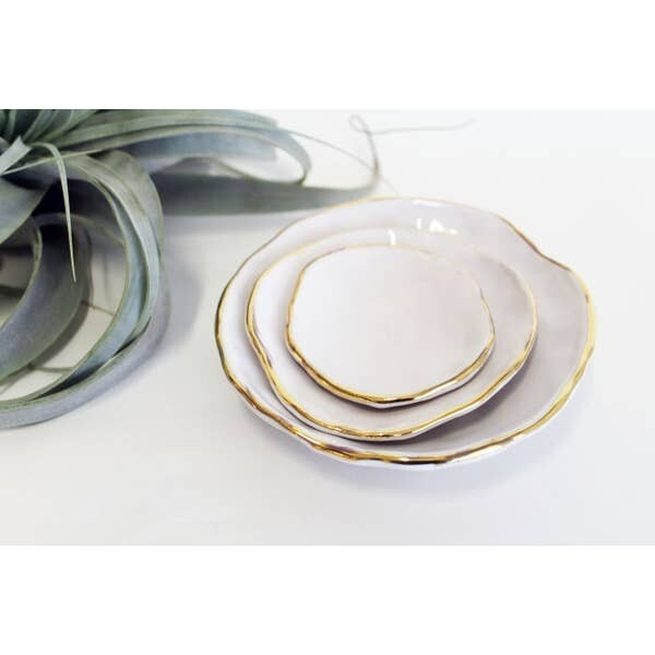 JKH Nesting Bowl Gold Edge Medium